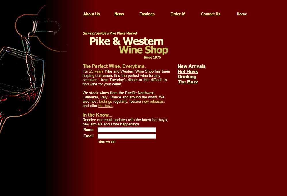 Pike and Western Wine Shop Website